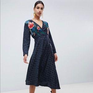 Asos Design Jacquard Wrap Dress